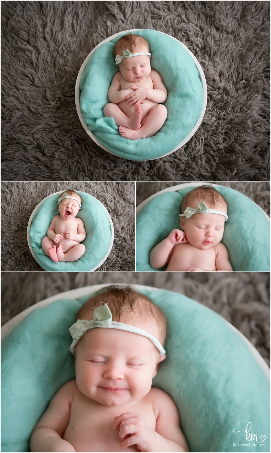 teal and grea - newborn photography - baby girl