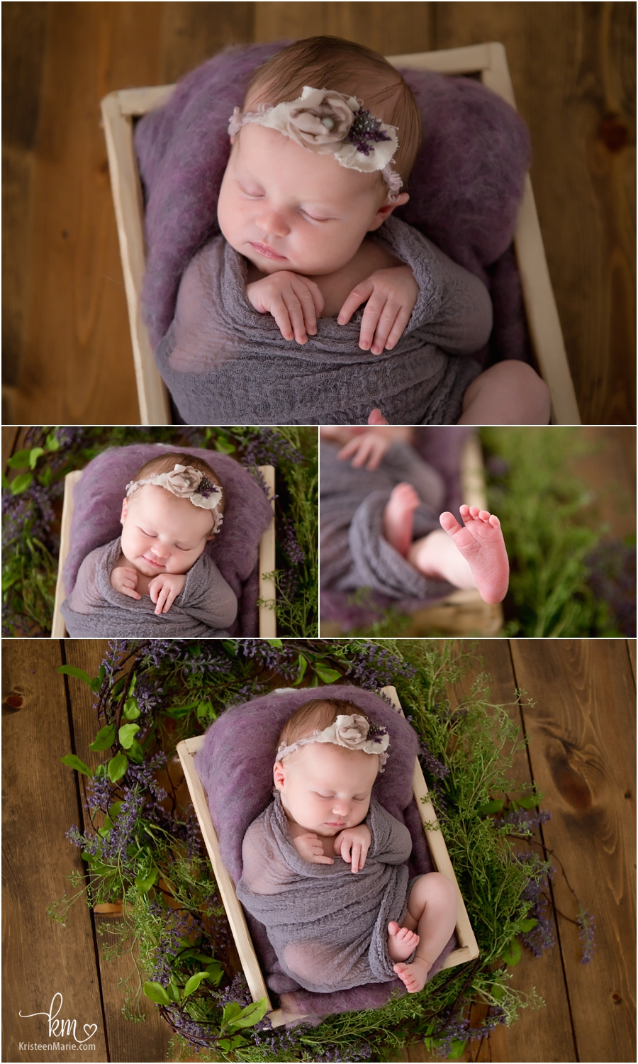 newborn phorography - baby in purple with flowers - purple and green rustic newborn photography