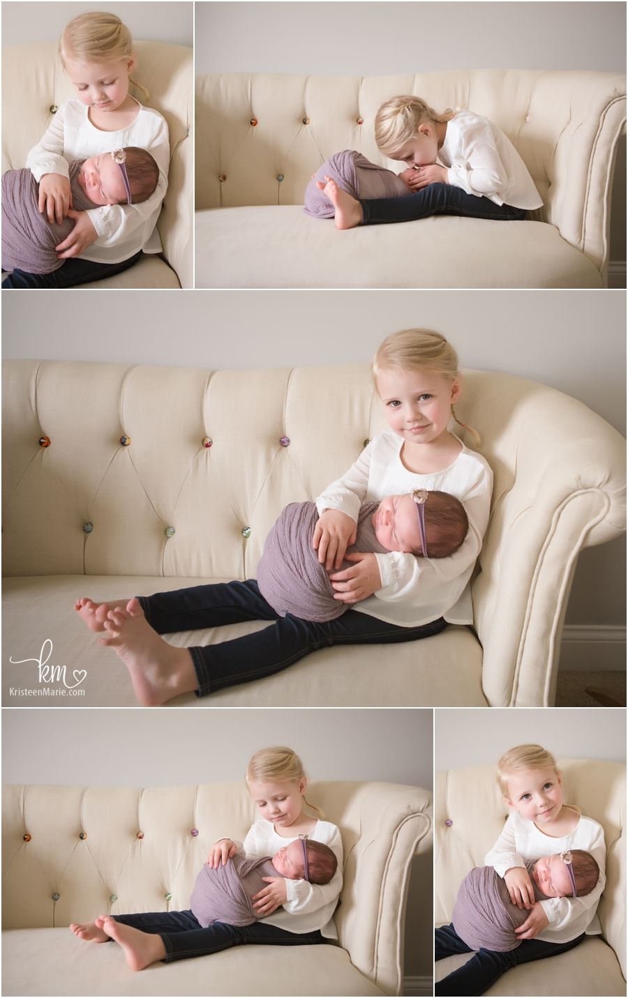 sibling shots with newborn baby - two girls
