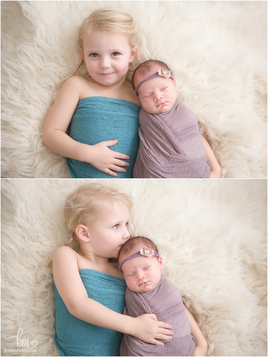 siblings - purple and teal newborn picture