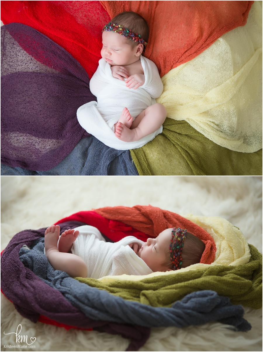 rainbow baby - ranbow newborn photography pose