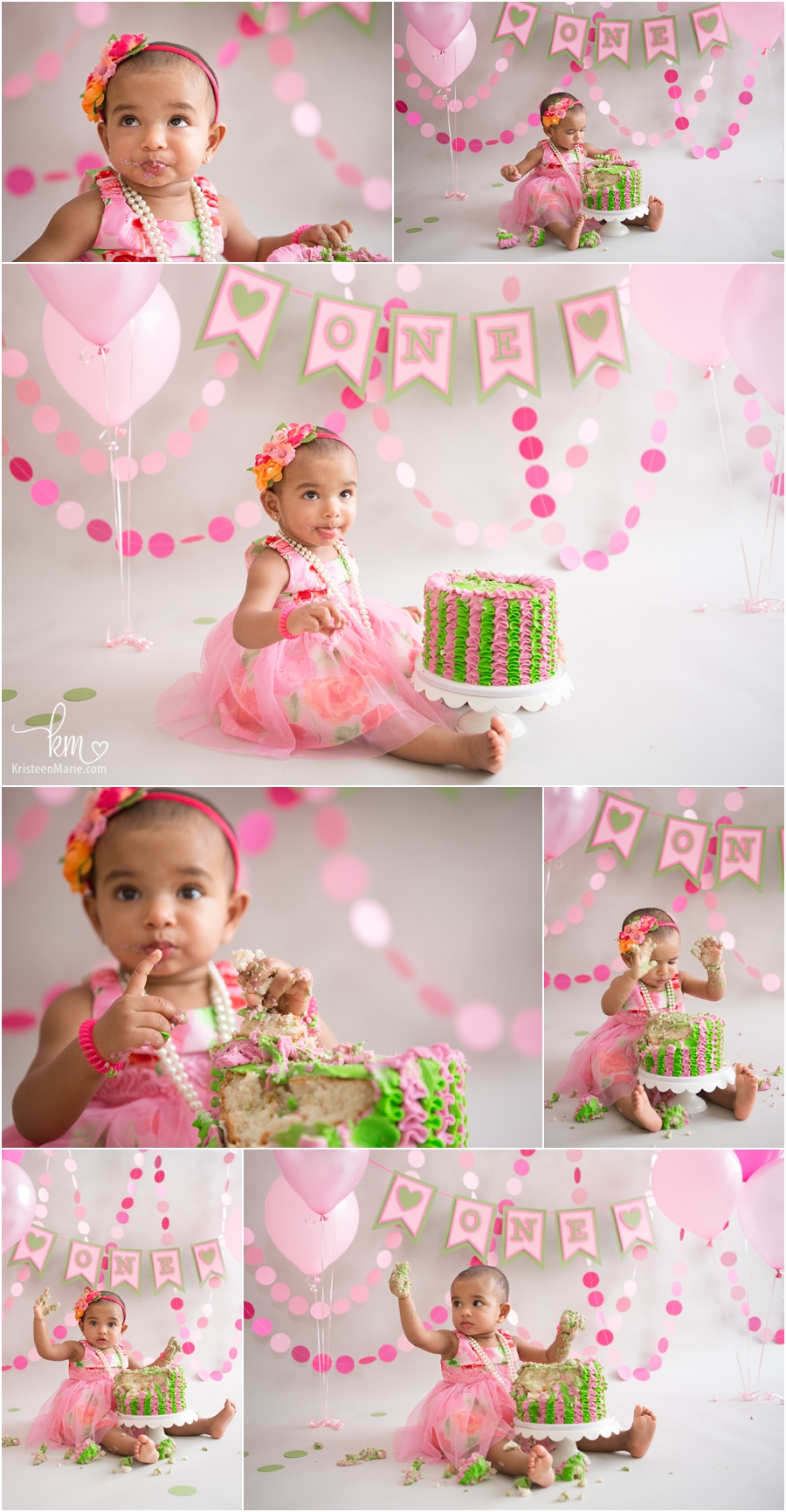 Pink and green 1st birthday theme - pink cake smash session
