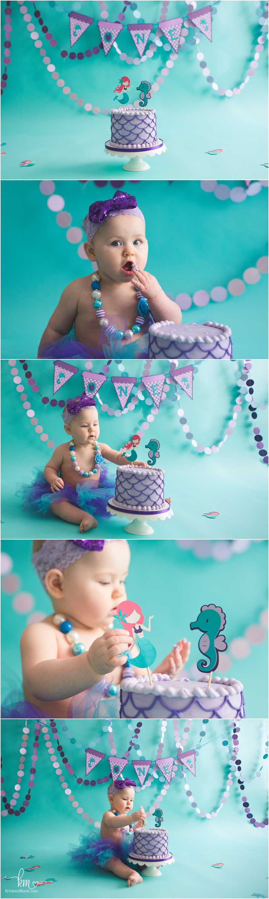 Purple and teal mermaid 1st birthday cake smash