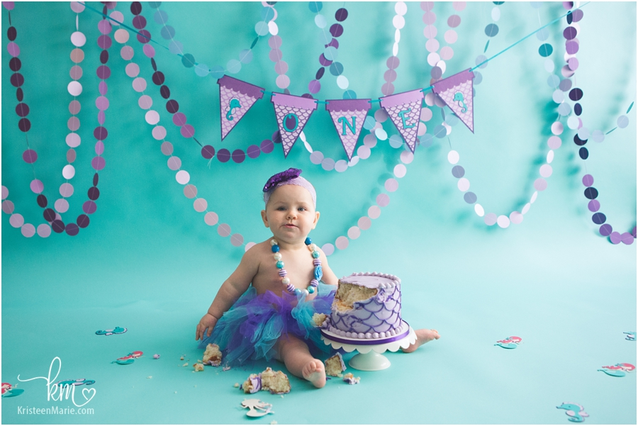 Indianapolis cake smash photography - purple and teal mermaid