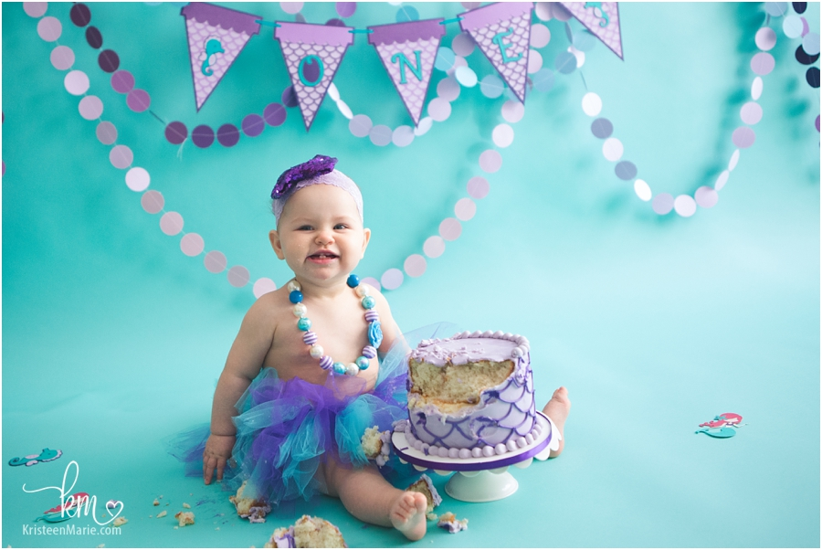 Mermaid 1st birthday cake smash theme - purple and teal