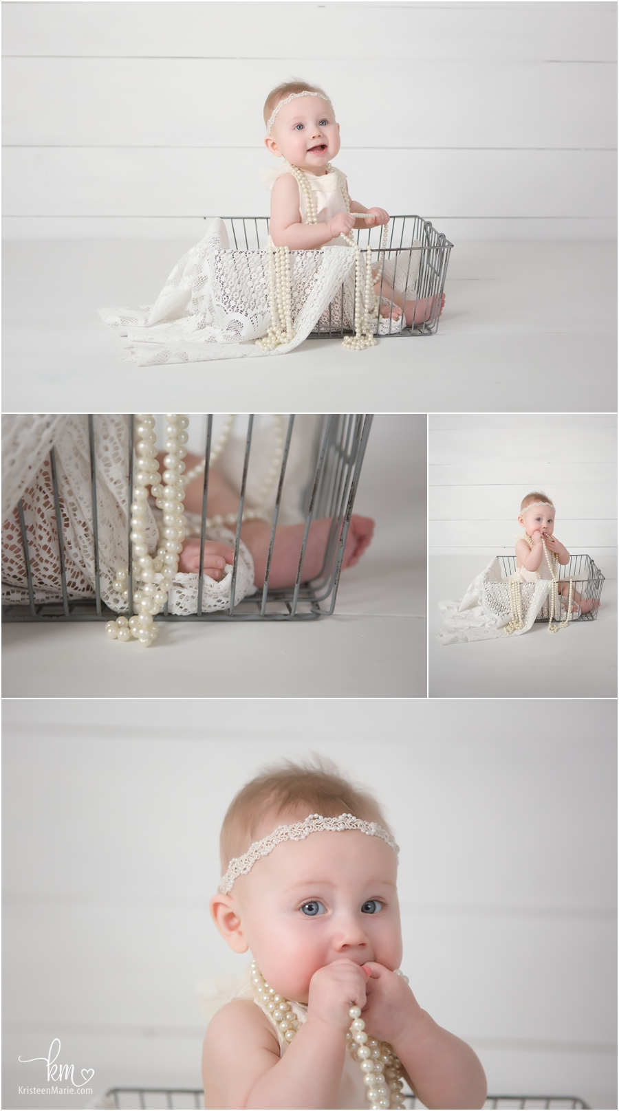 baby in a basket - pearls and lace