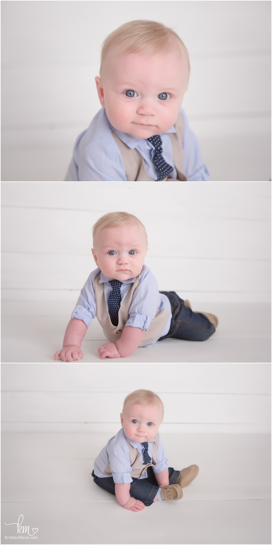 baby boy in Carmel photography studio - sitter session