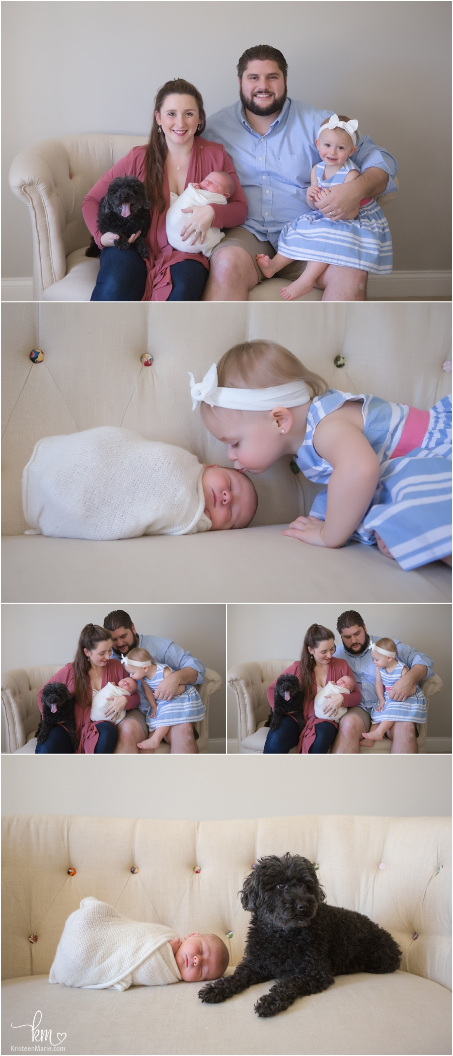 family photography with newborn baby in studio