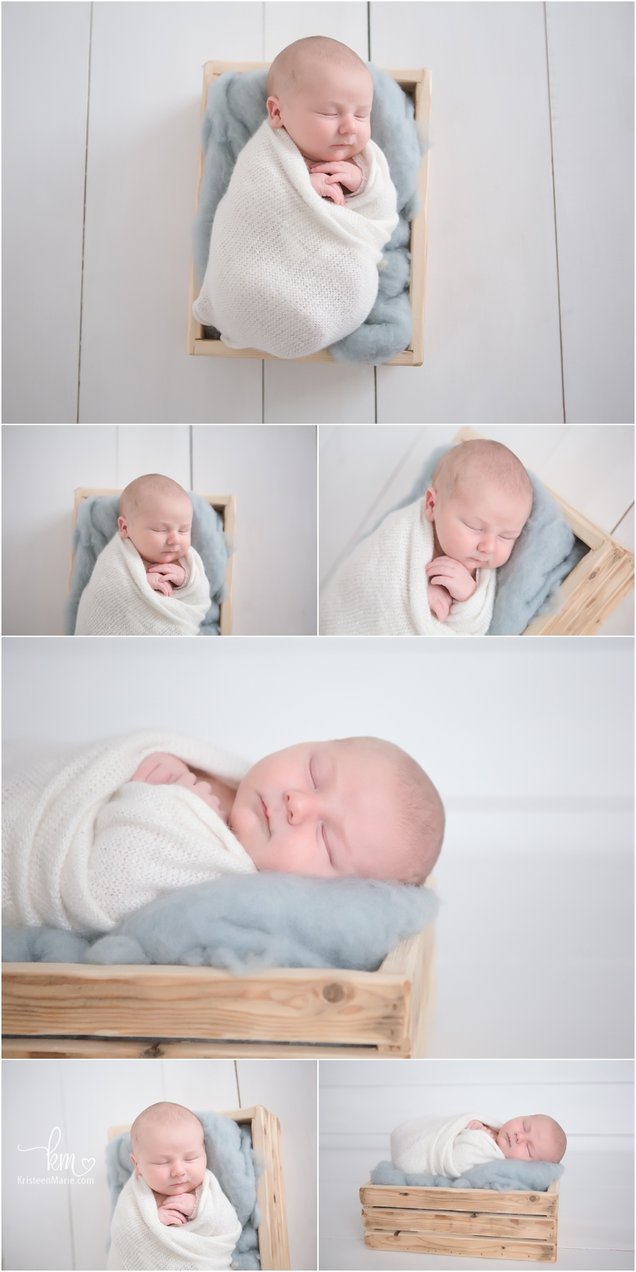 newborn boy in box with fluff swaddled - baby blue and white