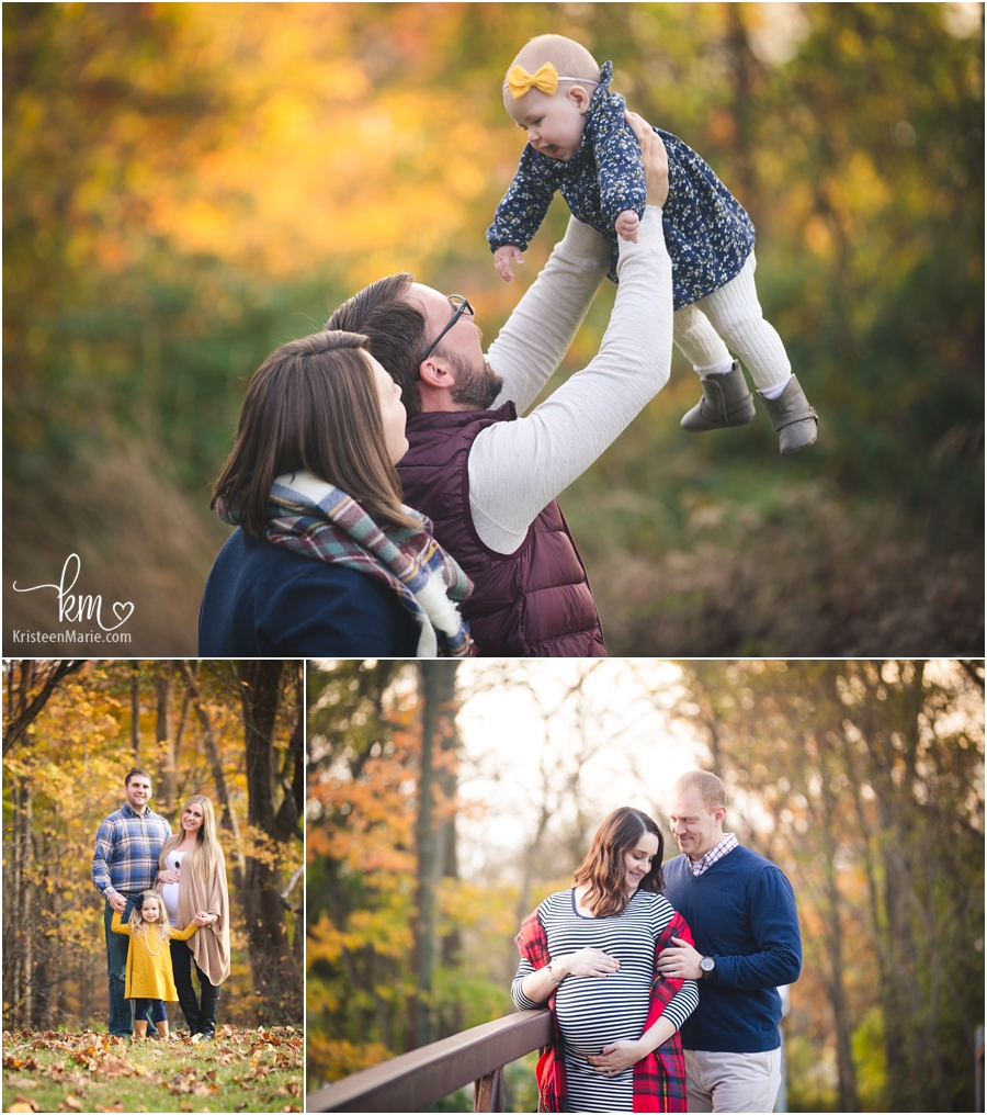 fall outfits for family photography session with the leaves falling