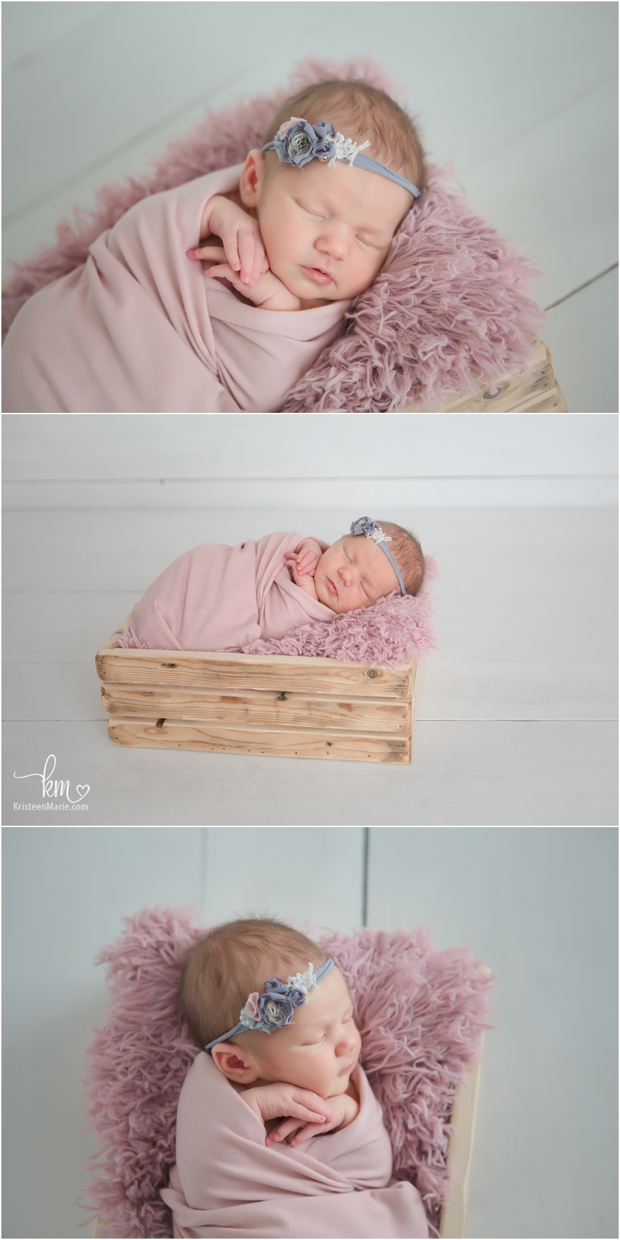baby in a box - white and pink
