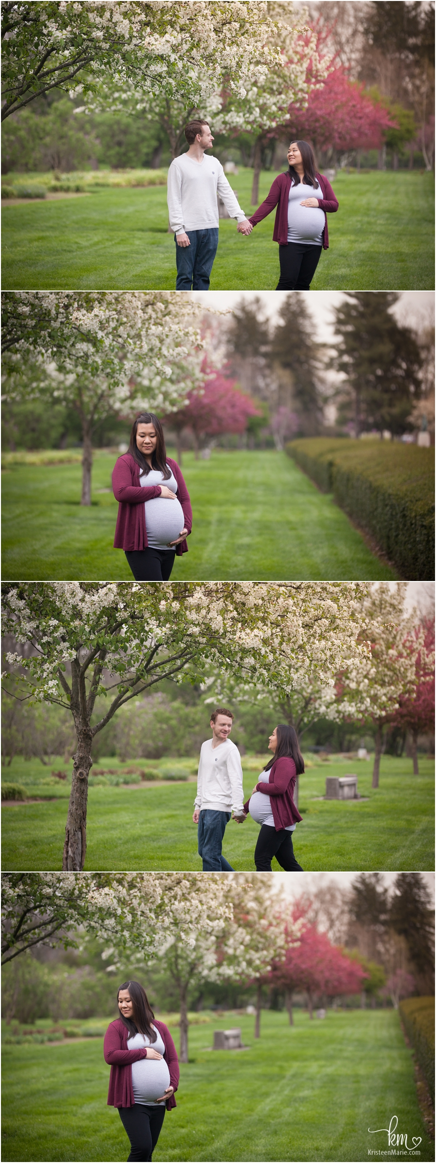 purple and white flowering trees in Indianapolis maternity photography - so pretty!