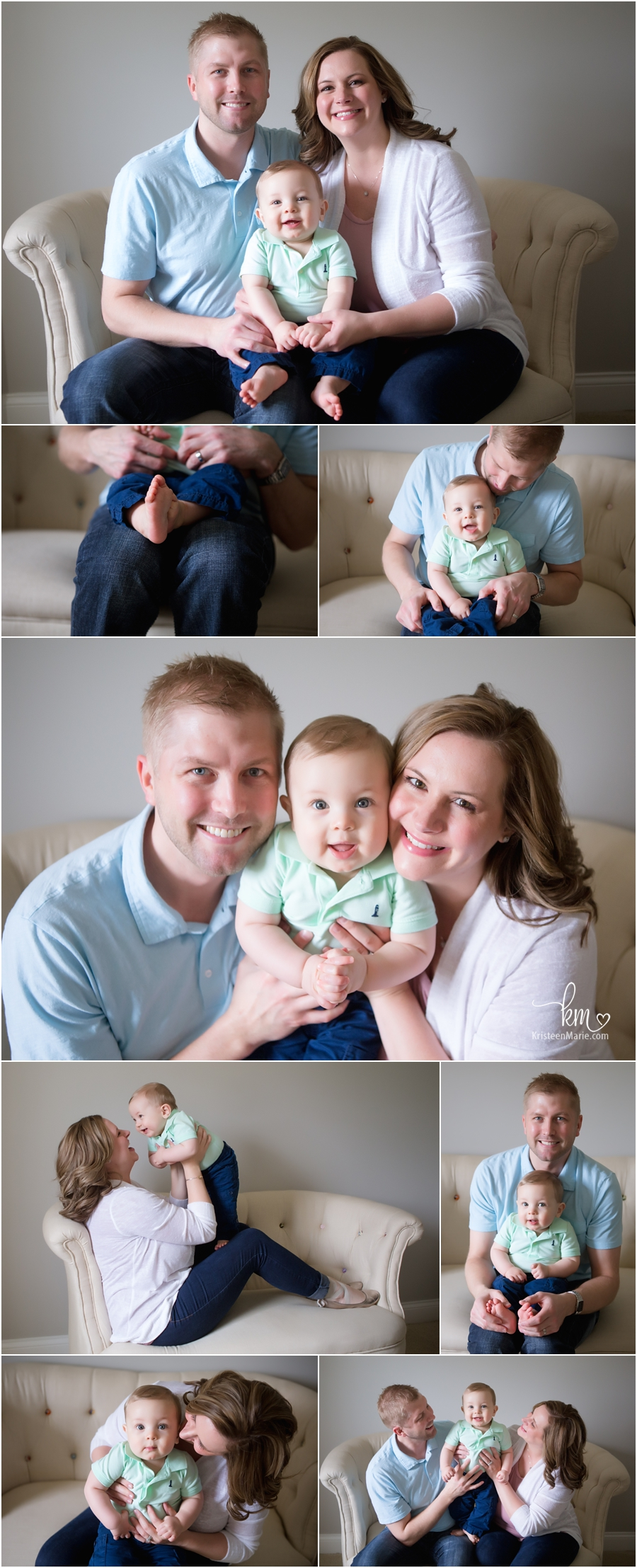 family poses for sitter session - family pictures in studio