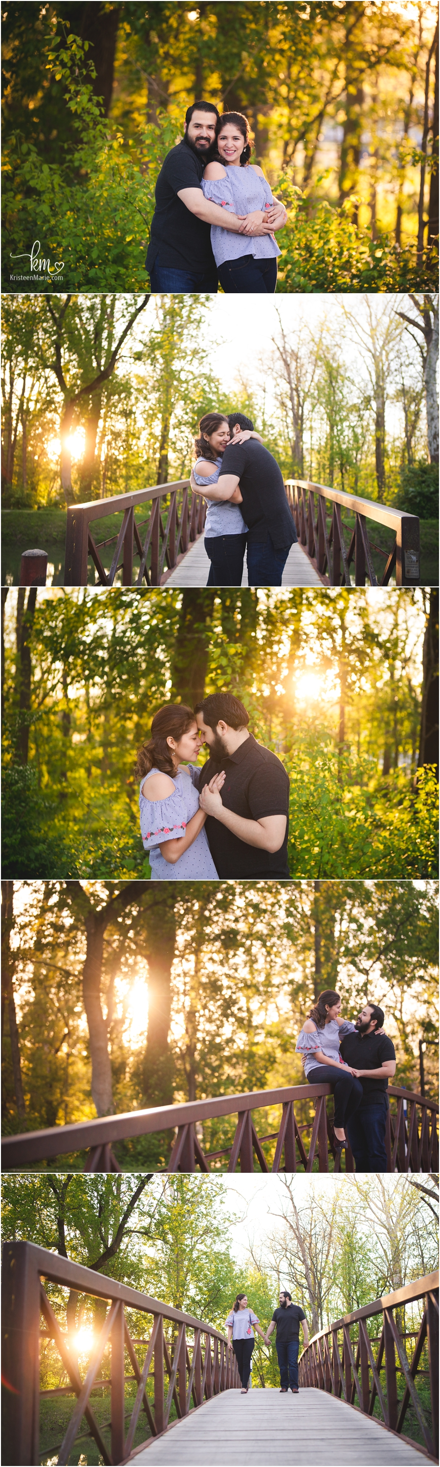 Engagement pictures at sunset in Indianapolis, Indiana