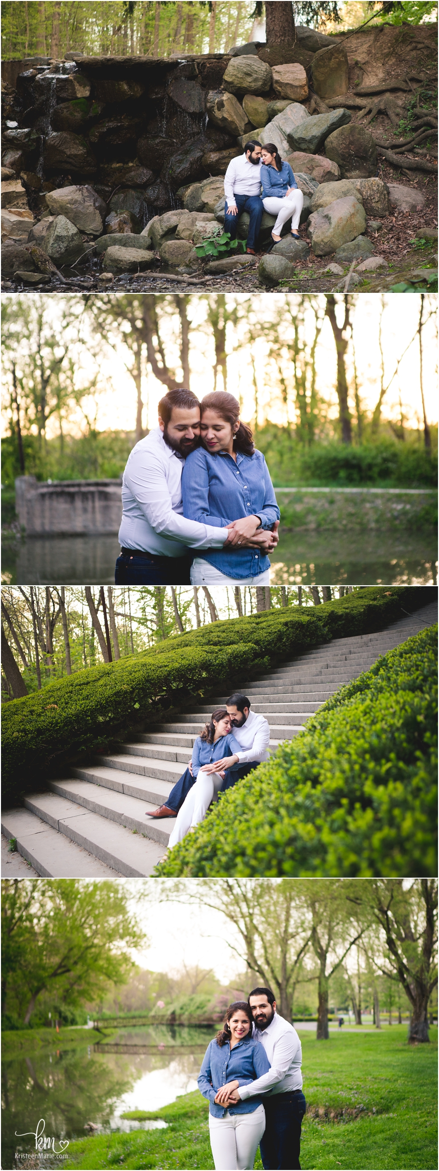 Couple on steps at Butler University Holcomb gardens