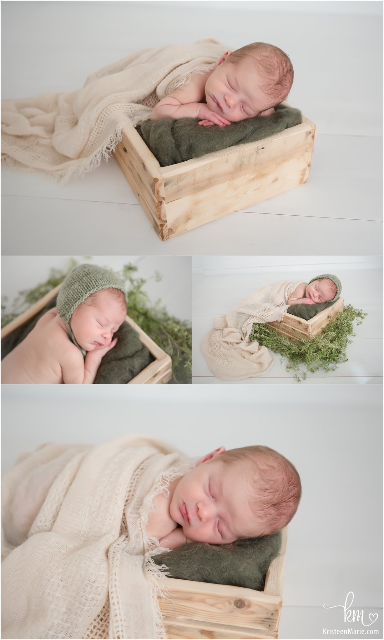 newborn baby boy in a box - green and white