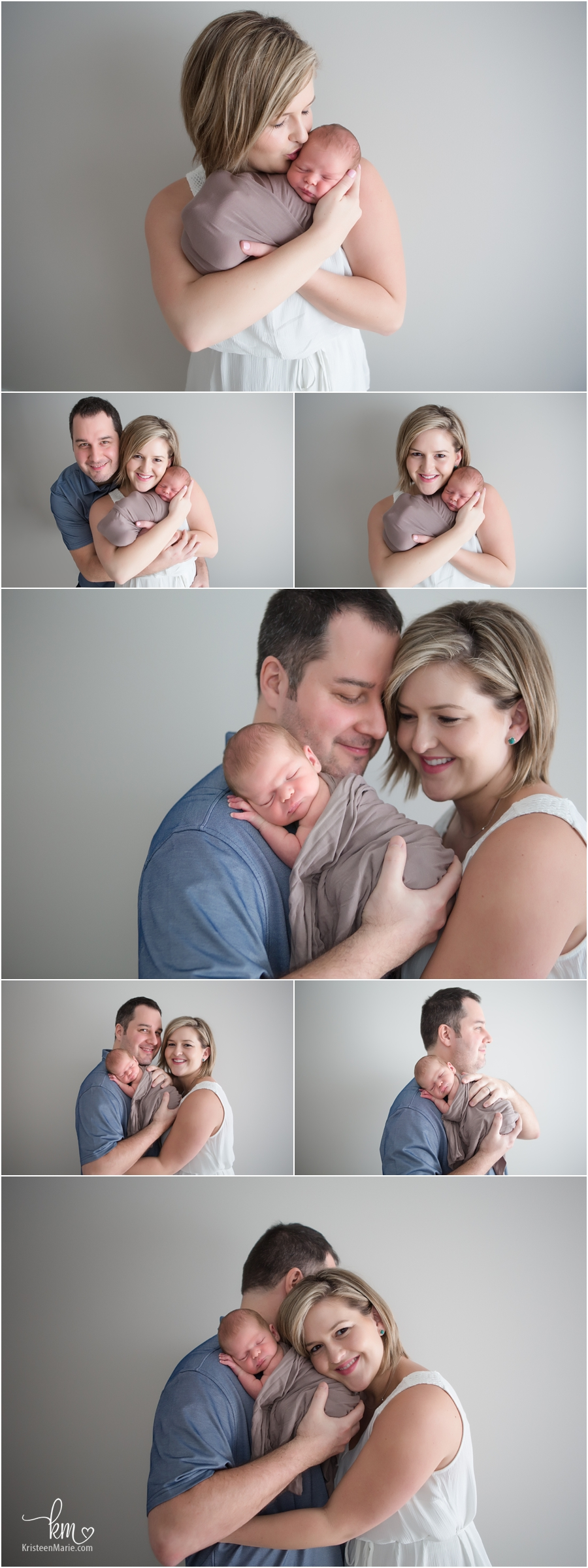 parents and newborn baby - family newborn photography poses in studio