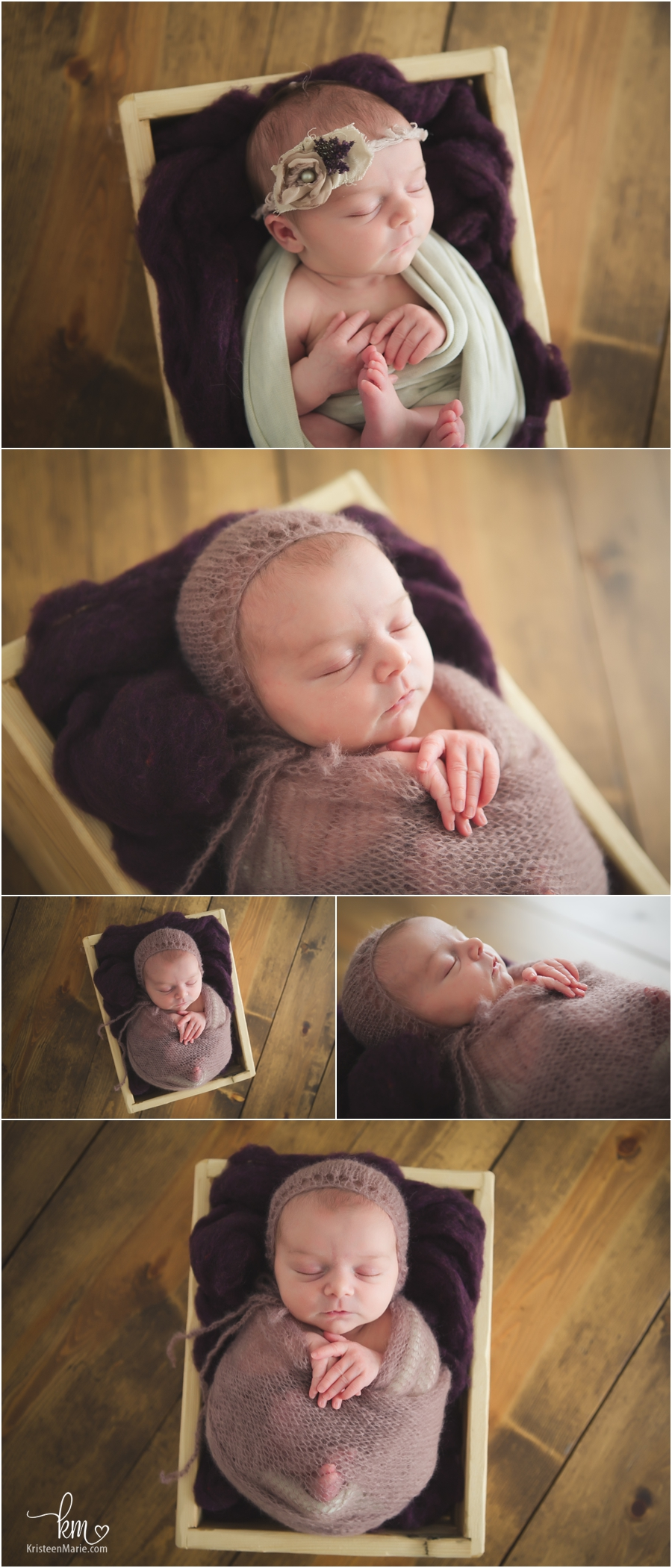 wrapped baby in a box - wrapped prop pose for newborn photography