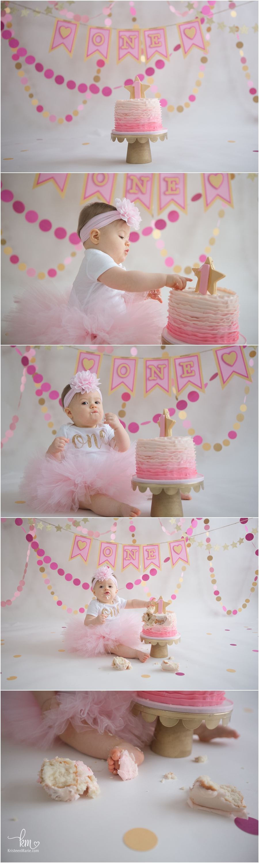 pink and gold cake smash session - heart and star themed cake smash photogrpahy