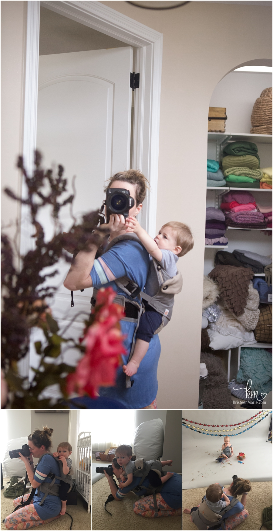 shooting while baby wearing - photographer and mom