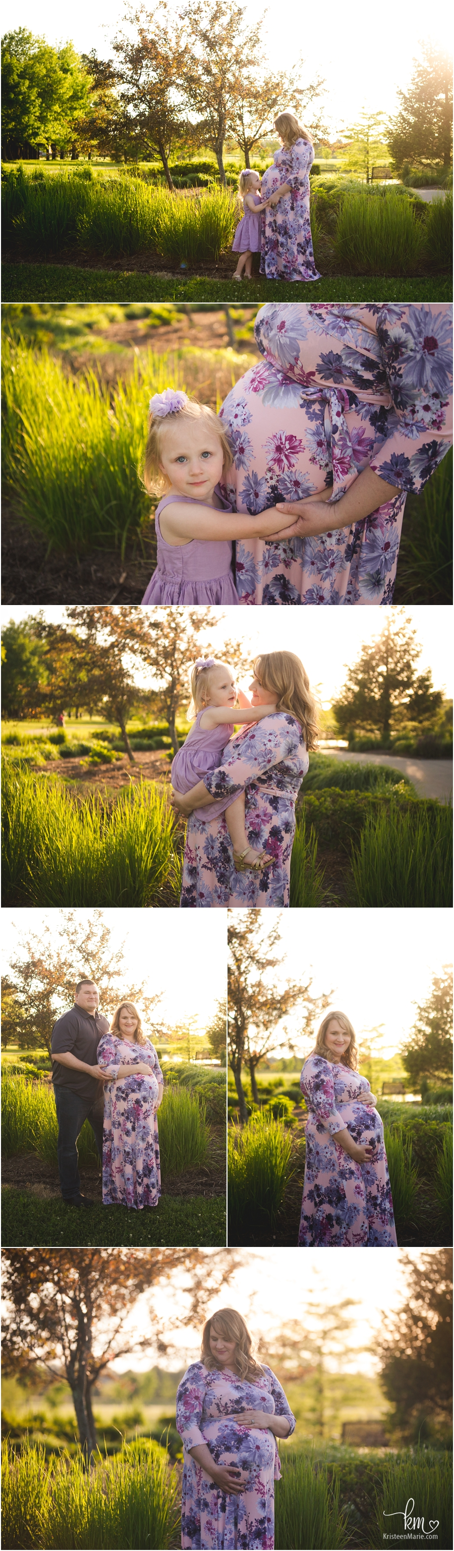 backlit sunset maternity pictures of expecting family