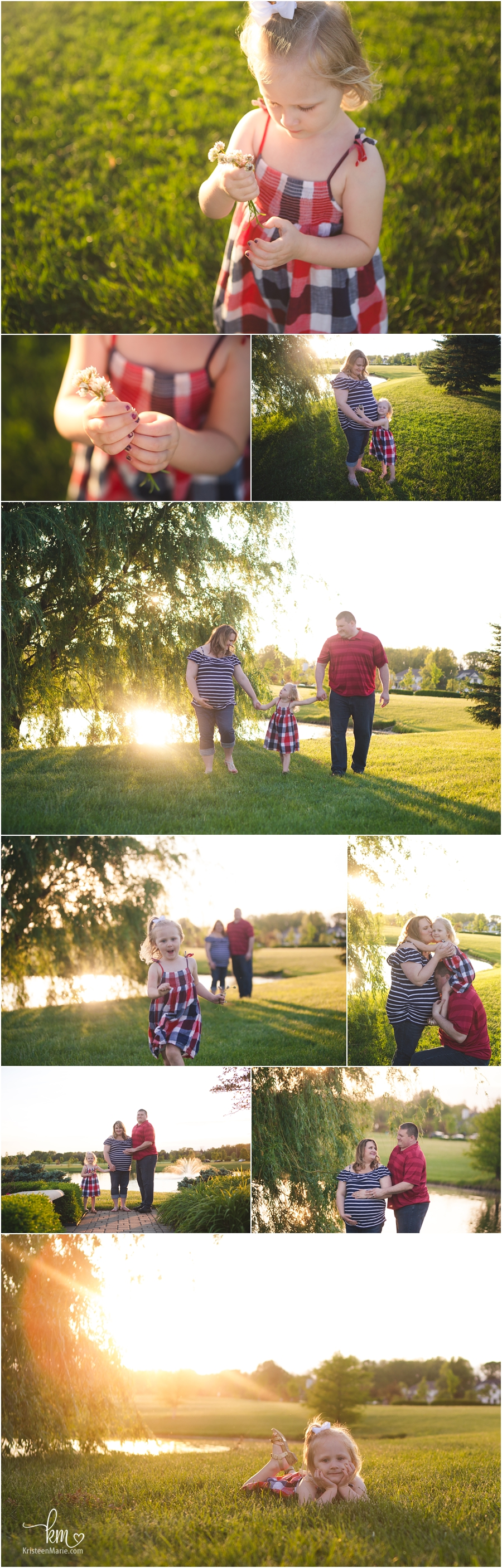 red white and blue maternity pictures at sunset on water