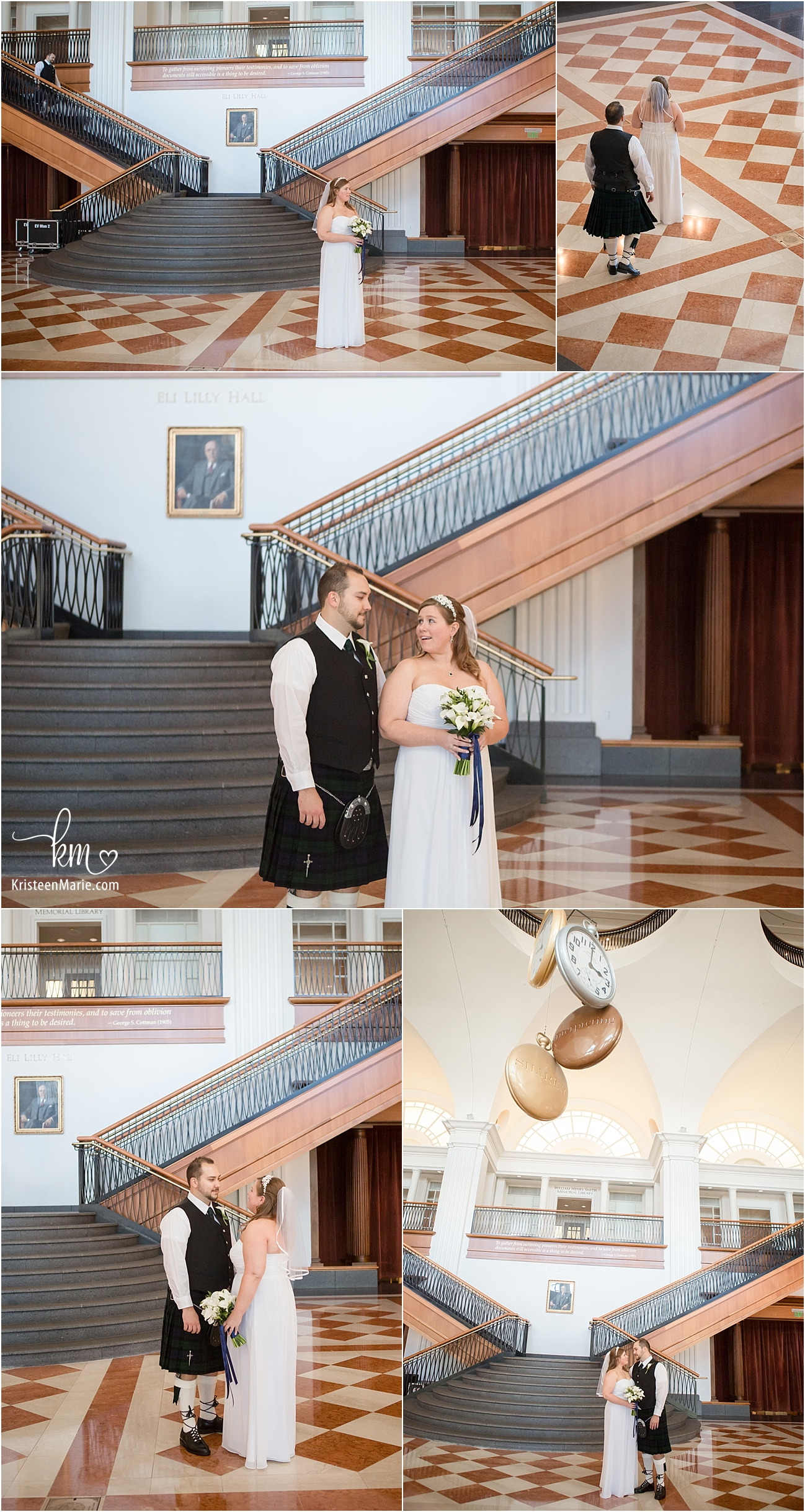 bride and groom first look in grand Historical Society Ballroom