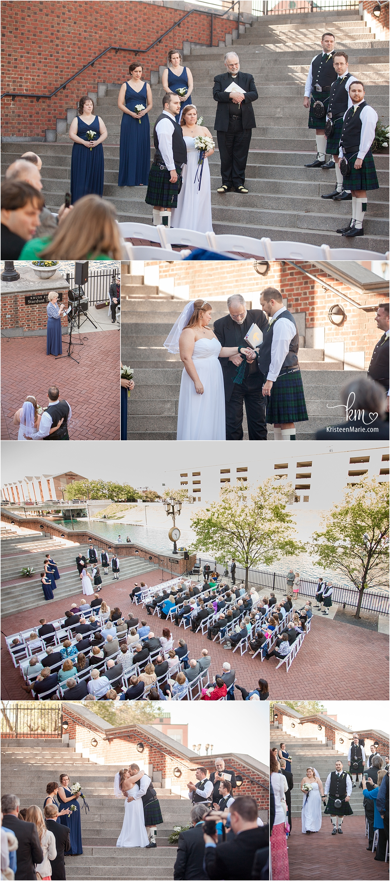 Indiana historical society outdoor wedding ceremony on canal in Indy