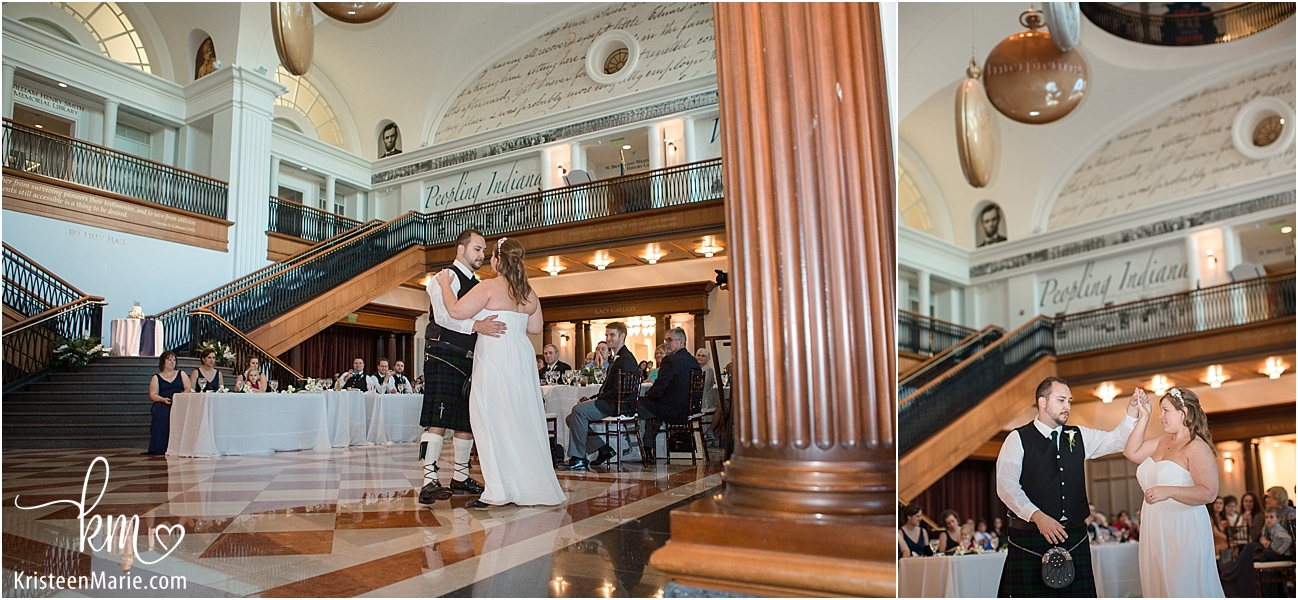 bride and groom doing first dance at wedding at Indiana Historical Society