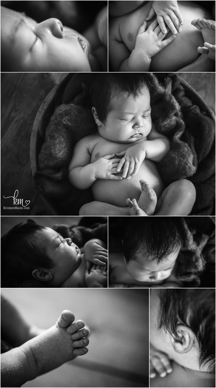 black and white baby features - hands, toes, fingers, feet, ears, and nose. Love those baby macro shots!