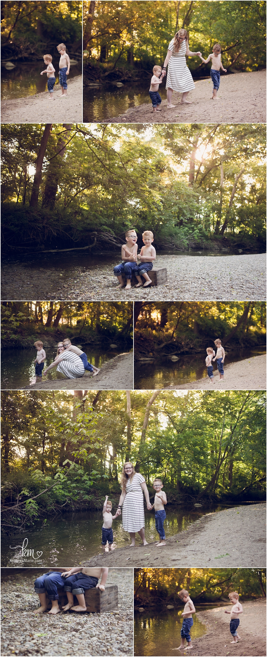 creek stomping sunrise photography - boys playing in creek/water