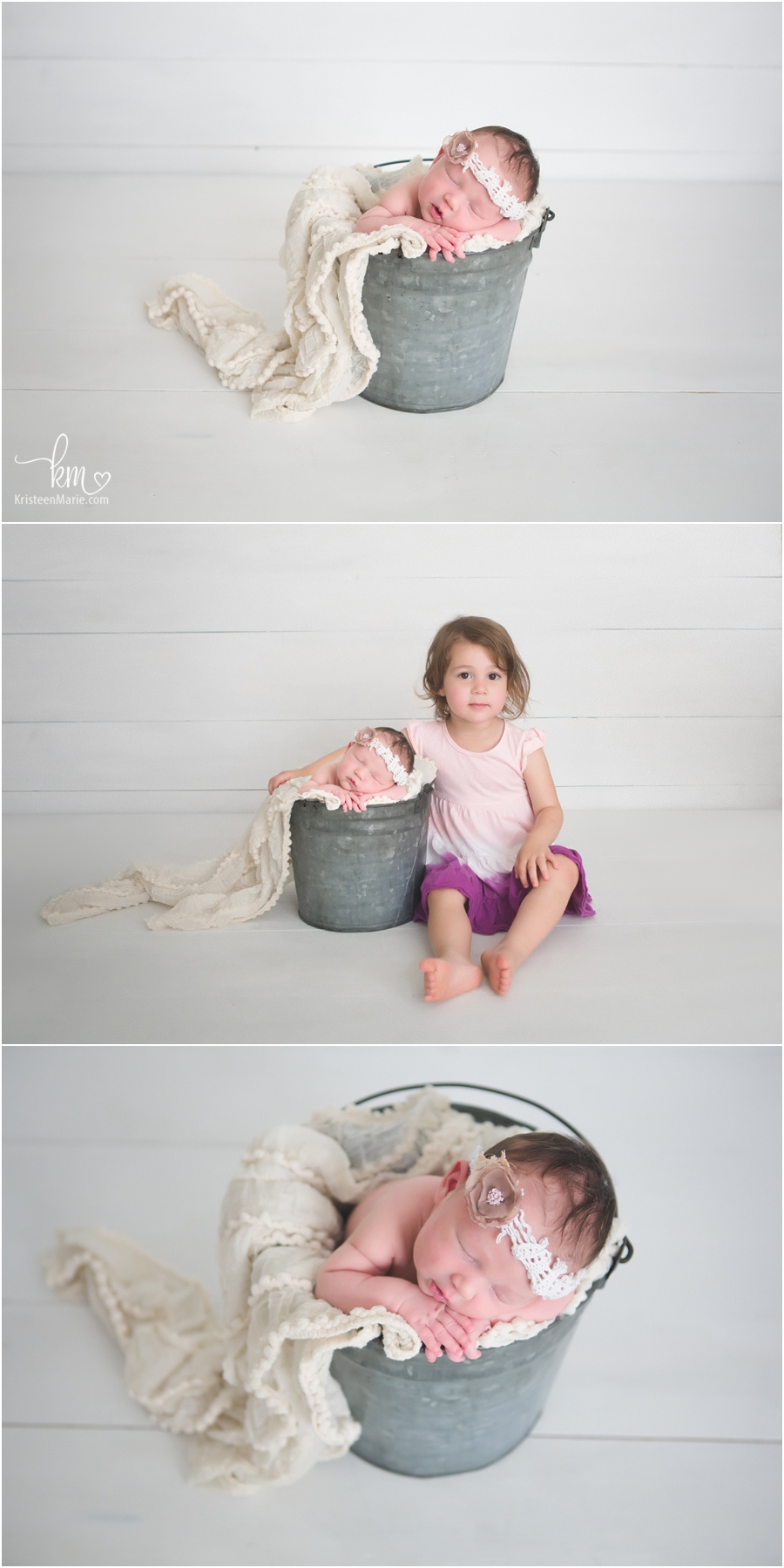 baby in a bucket and newborn baby with sister
