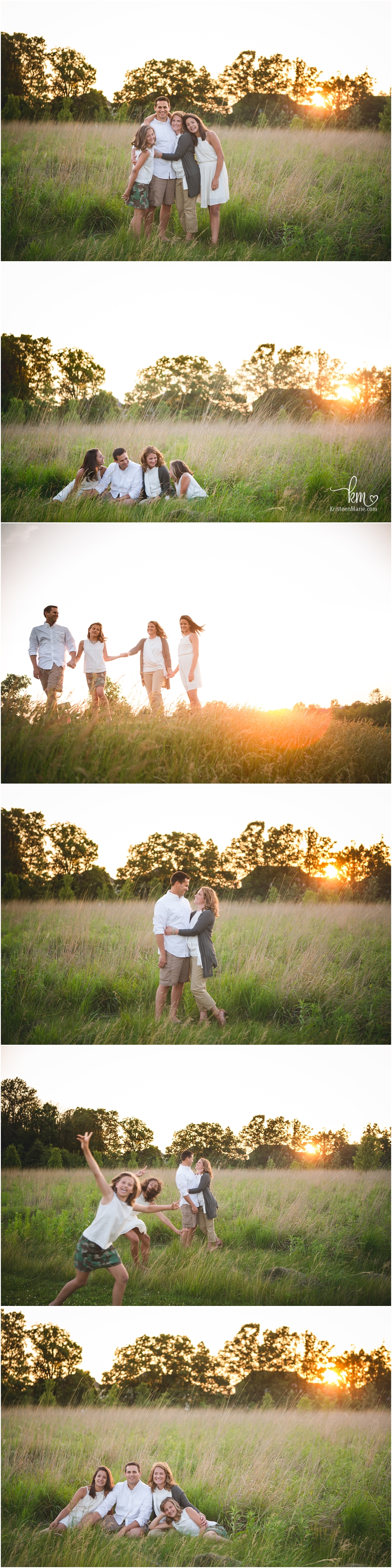 sunset family photography - great pictures to take at sunset in a field