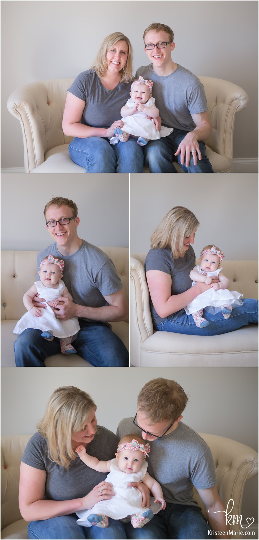 family poses with 4 month old in photography studio