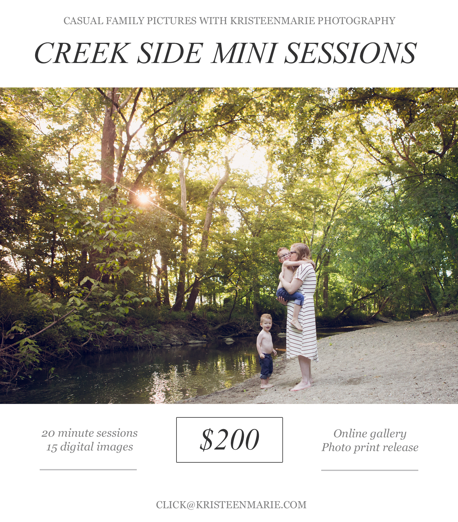 creek side mini session in Carmel, IN - KristeenMarie photography