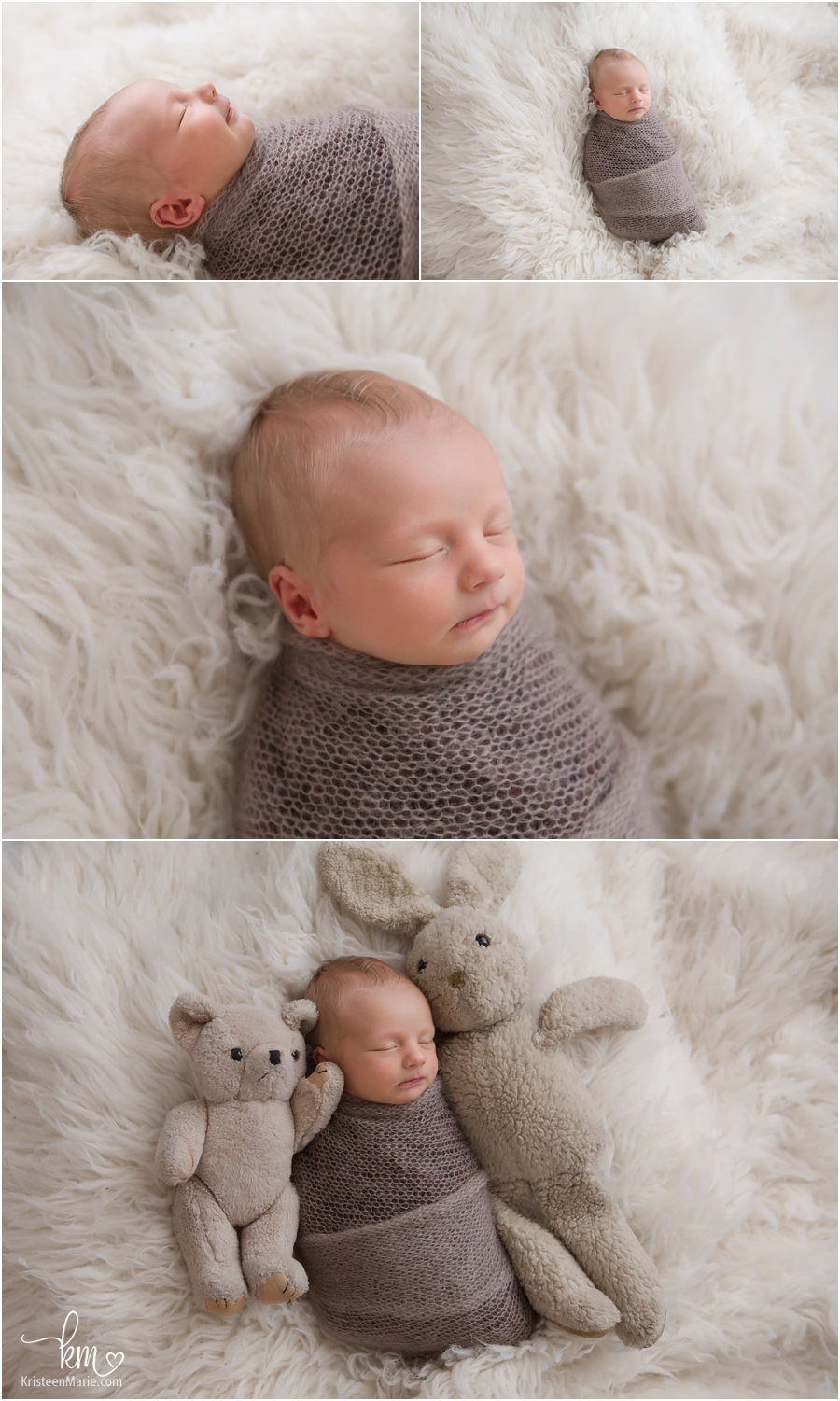 sleeping newborn boy in brown and cream - mom's childhood toy is on the right and dad's is on the left