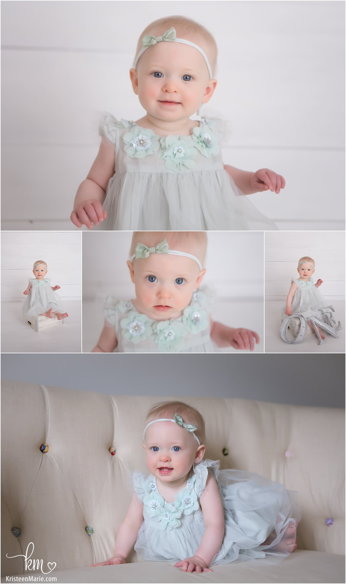 one year old girl in designer dress