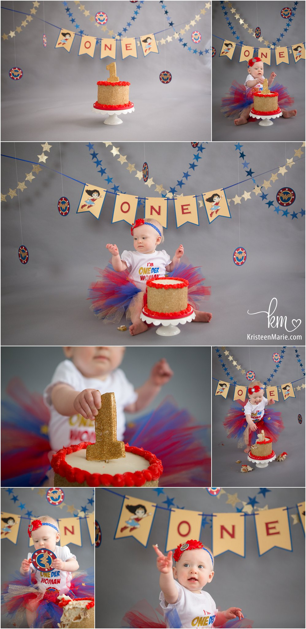 ONEder Woman 1st birthday cake smash photography - Wonder Woman