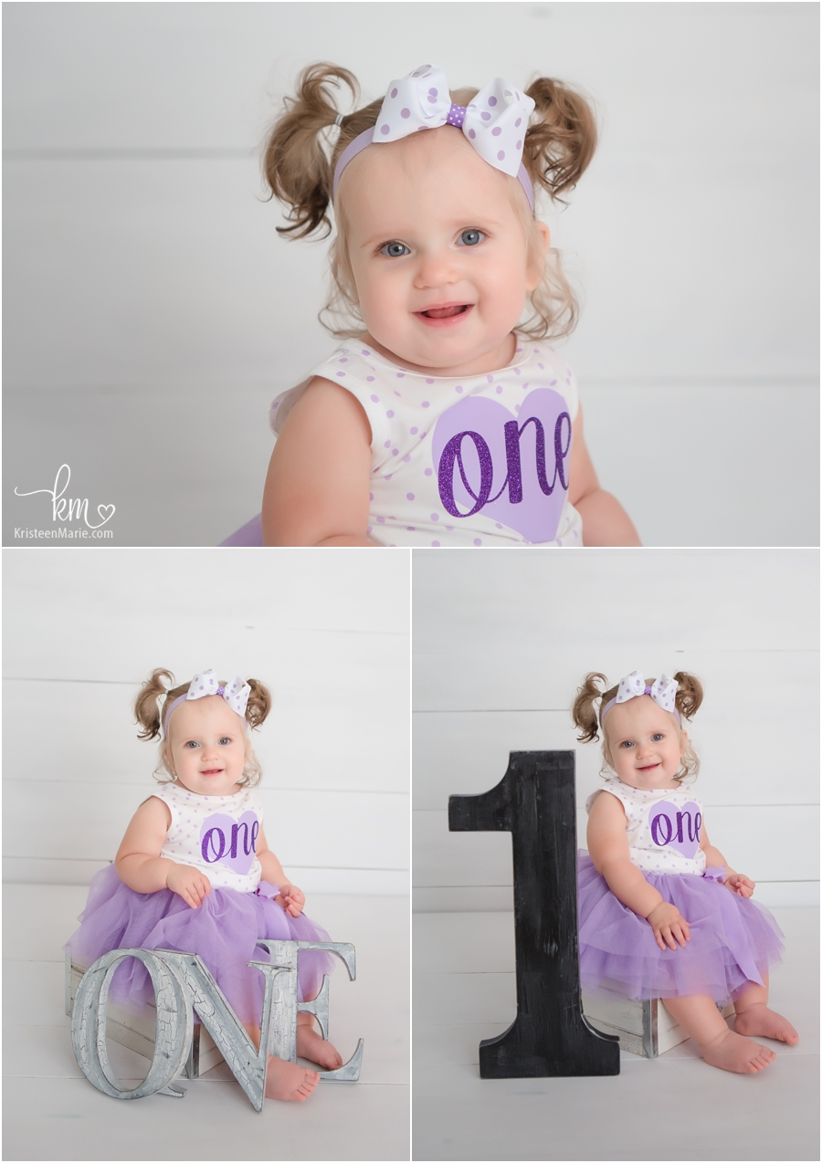 one-year-old pictures - little girl in purple