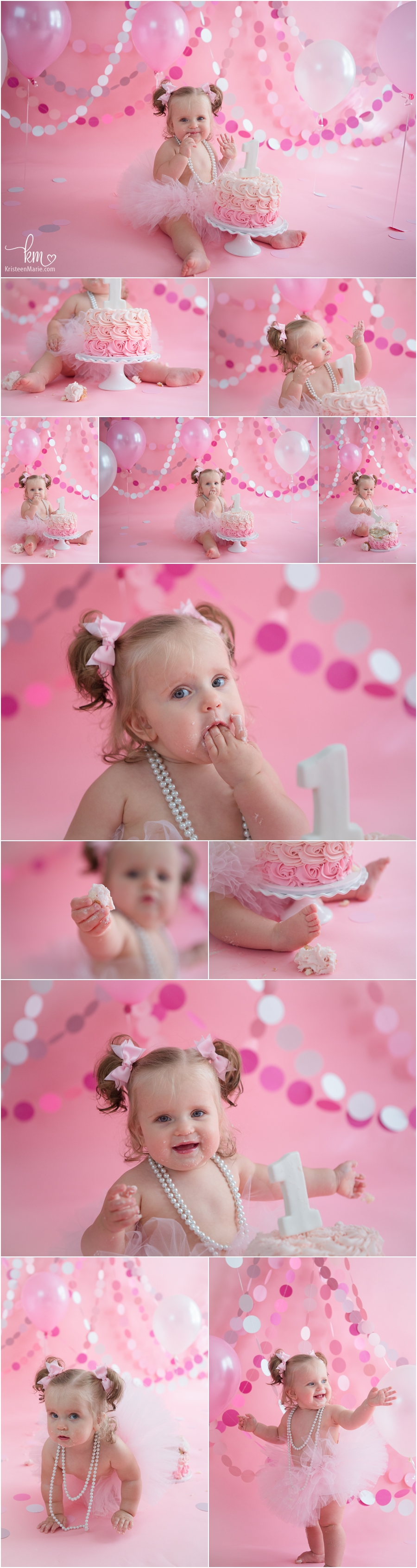 soft pink cake smash session for baby's first birthday