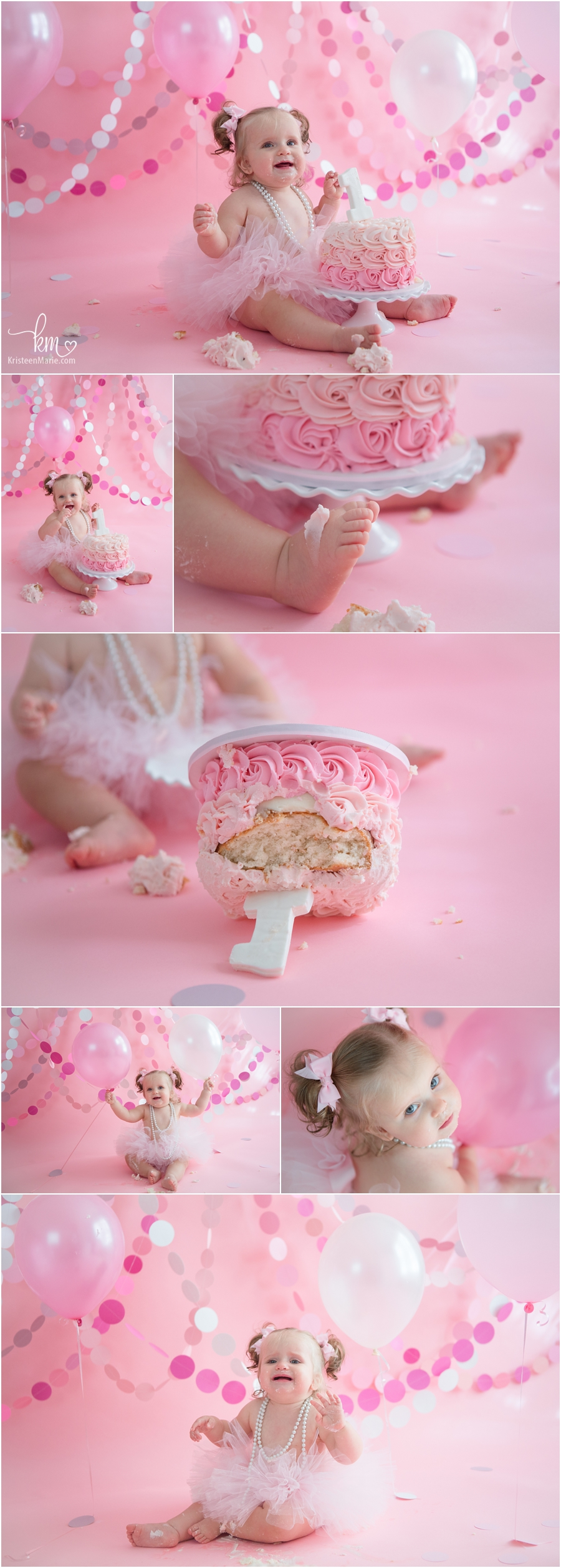 pink cake smash session - pink and white 1st birthday photography - adorable!