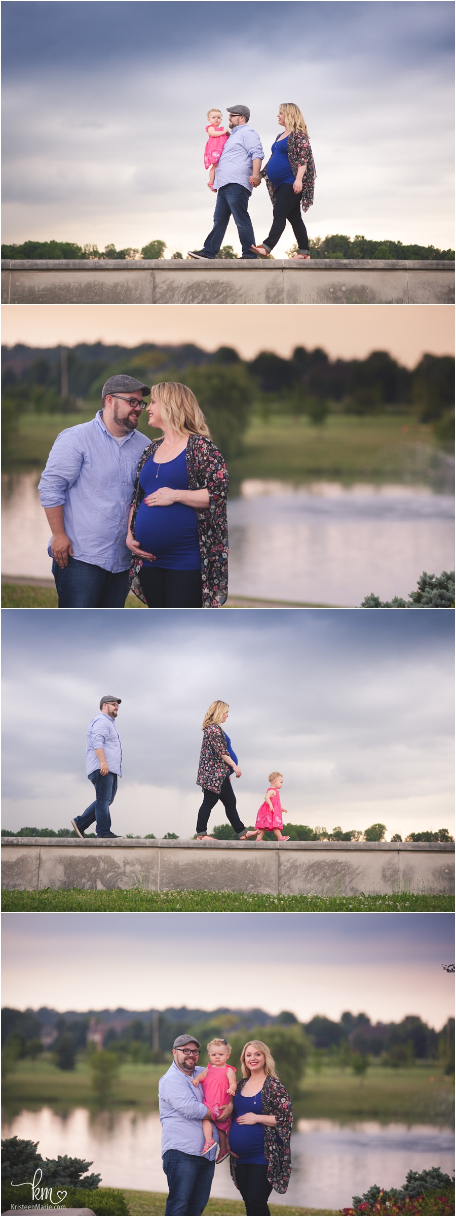 family at sunset for maternity session