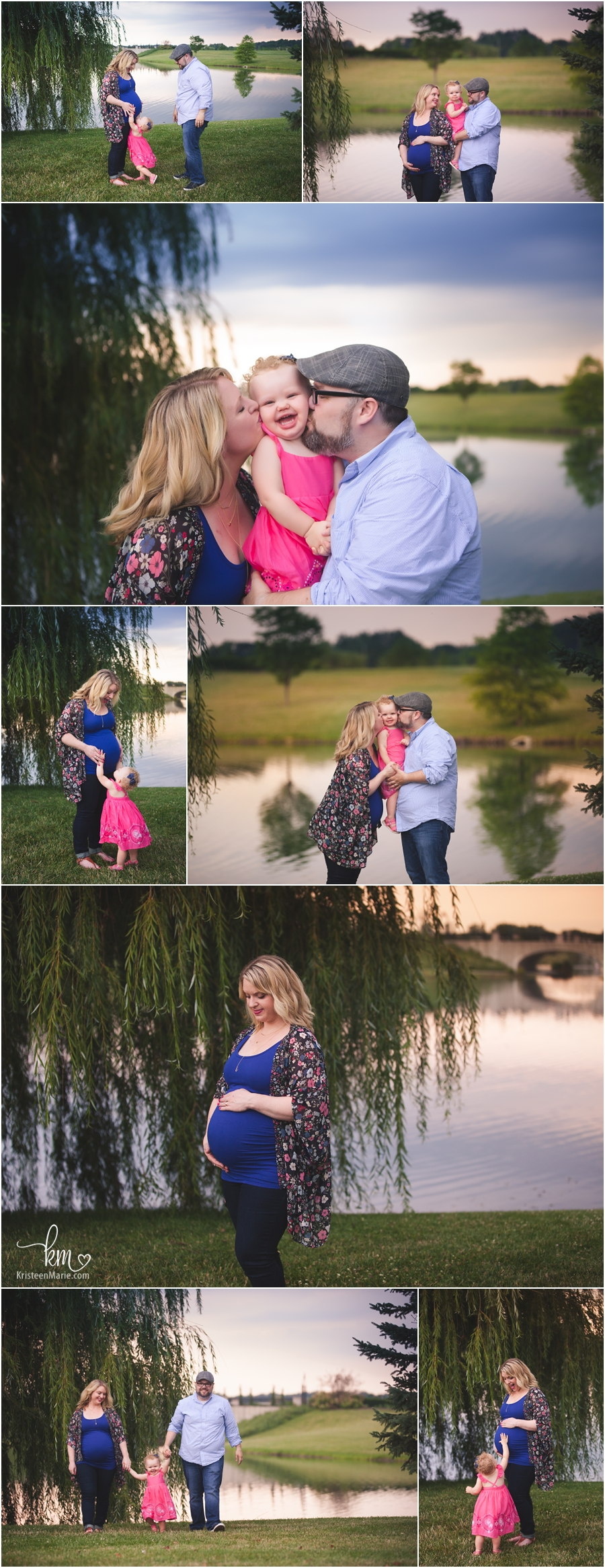 sunset maternity picture with weeping willow tree and water
