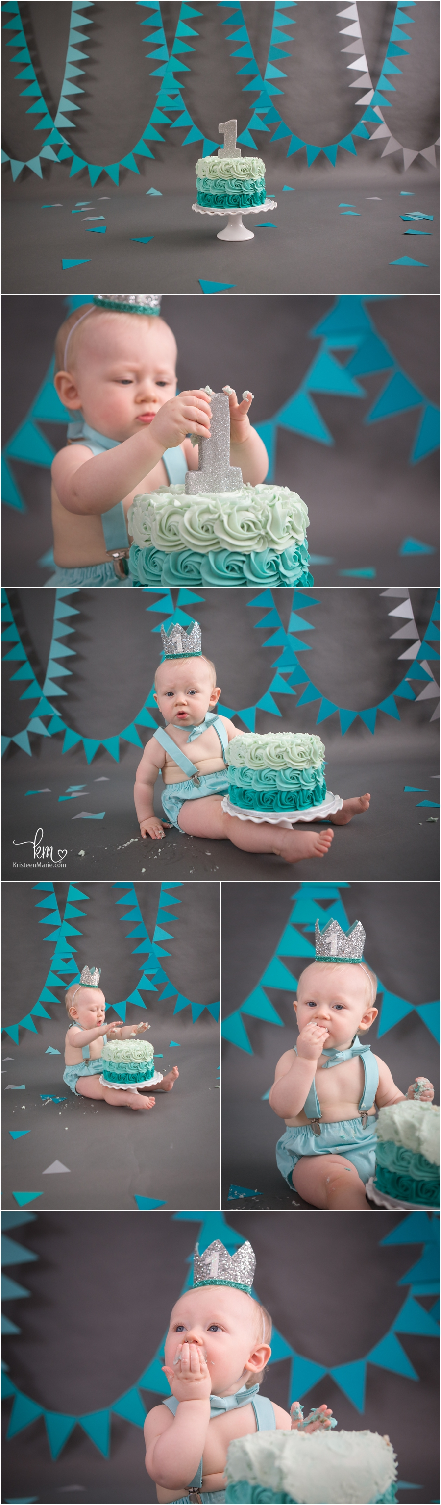 teal ombre cake smash photography for boy's first birthday