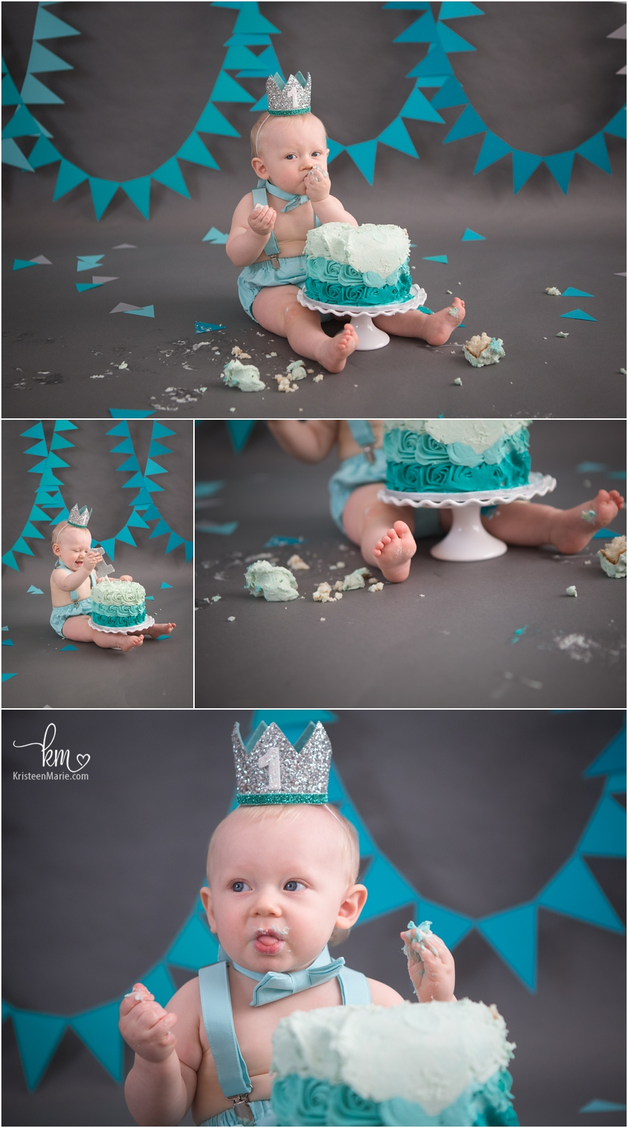 teal and silver boy's first birthday - 1st birthday cake smash