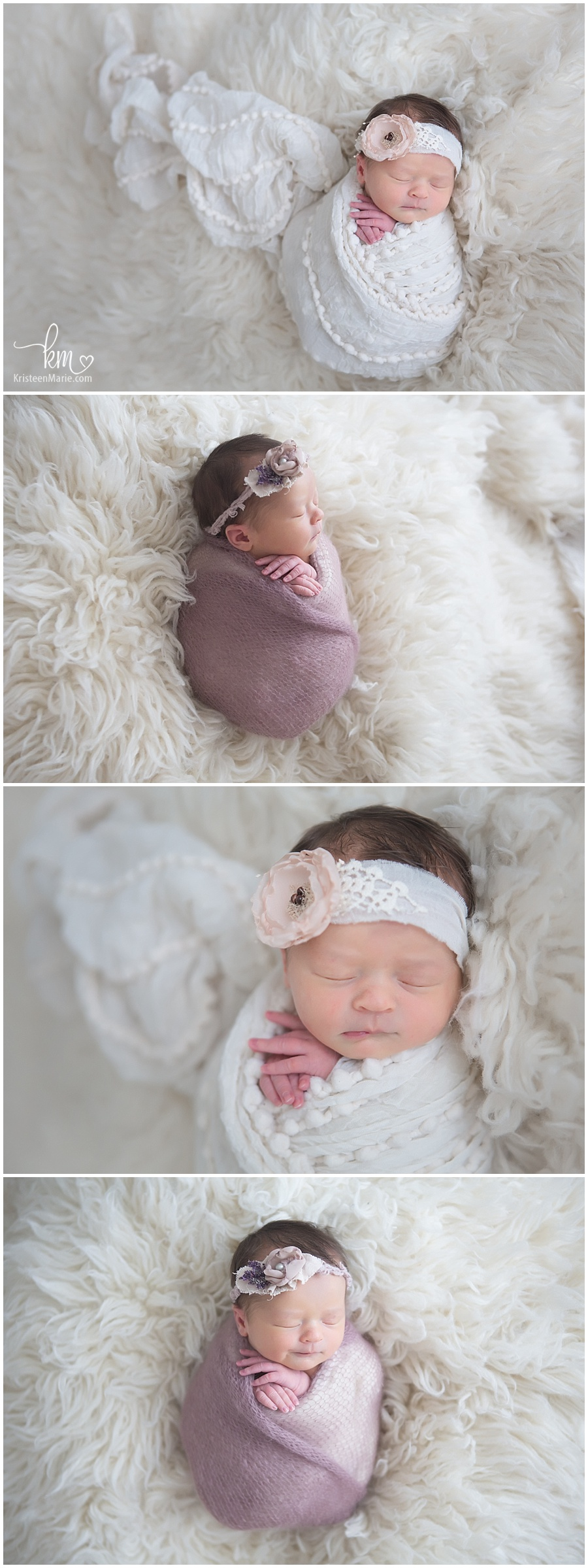 cream and blush newborn photography - newborn girl