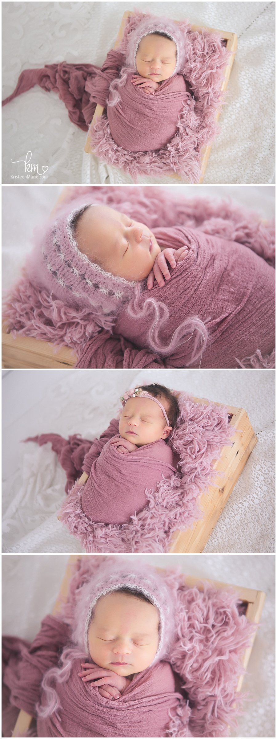 Pink newborn picutres of baby in basket - cute girly newborn shots