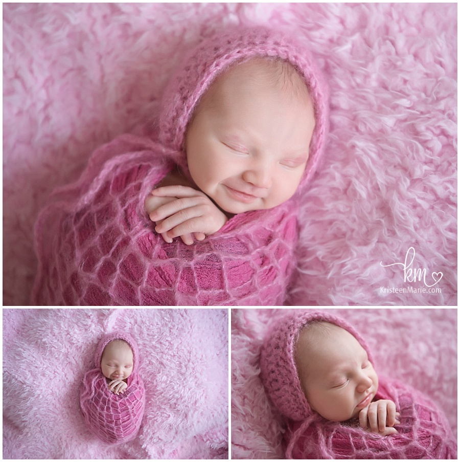 Indy newborn pictures - collage with newborn baby in pink/ baby on pink background