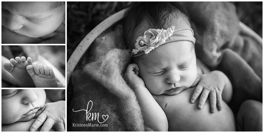 black and white baby features/ newborn photography baby parts