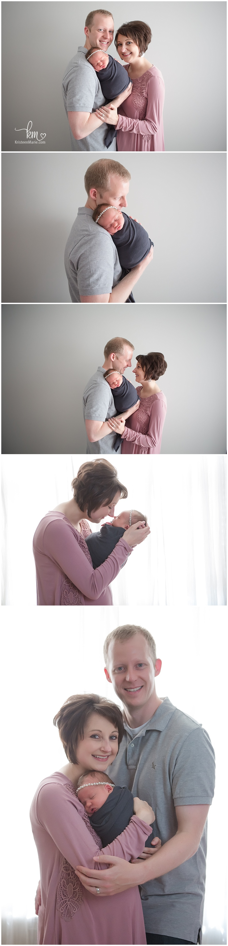 newborn photography with baby girl/ family of three/ mom dad and baby